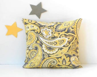 Yellow Paisley Outdoor Pillow Cover With Grey and White, 18x18 Pillow for Porch, Patio, Deck or Sunroom, Beach House Pillow, Accent Pillow