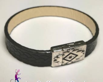 Original black leather with ethnic style silver plated magnetic clasp bracelet