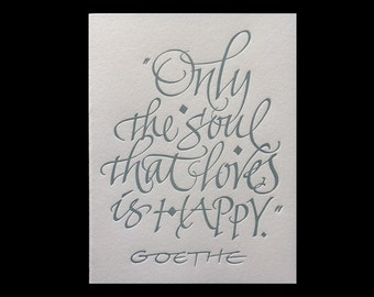 Letterpressed Calligraphic Literary Greeting Card