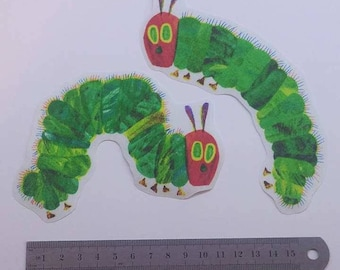 2 Large Hungry Caterpillars iron on fabric motifs/patches/embellishments
