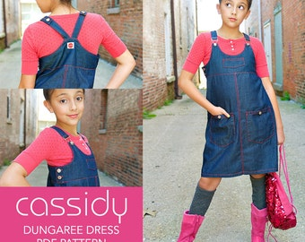 Cassidy Dungaree Dress PDF Downloadable Pattern by MODKID... sizes 2T to 12 Girls included - Instant Download