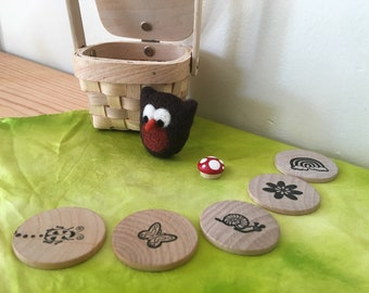 Owl surprise. Basket of storytelling gifts. Needle felted wool, Playsilk, Wooden tokens, Easter egg play set. Natural kids and toys