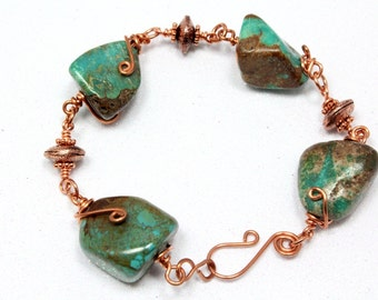 Natural Turquoise and Copper Bracelet - Wire Wrapped - Turquoise Nuggets - Boho - Rustic