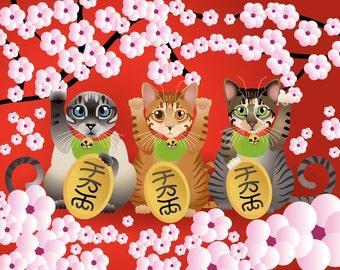 """Maneki Neko YOUR cat! - 8""""x10"""" Print"""