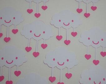 Cloud With Heart Raindrops Die Cut, 10 Piece Set VTC-0221