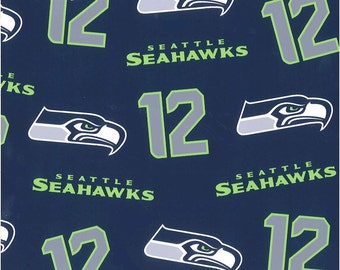 "SEATTLE SEAHAWKS Cotton 2016 line of fabric ~ Blue and Green ~ Hawk and 12 ~ 100% Cotton Fabric ~ 1/2 Yard Cut ~ 18"" x 58"""