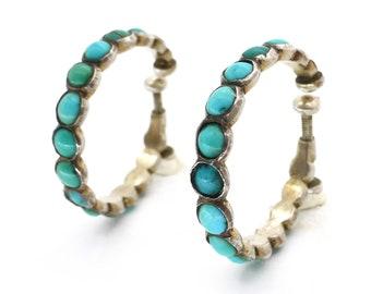 Antique Edwardian Silver Turquoise Hoop Earrings