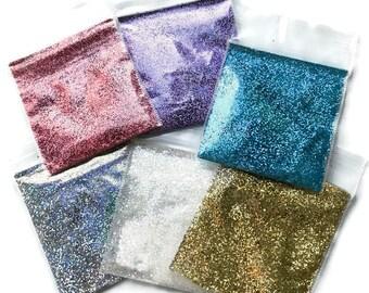 HOLOGRAPHIC Glitter, SOLVENT RESISTANT, Sampler Set for Glitter Nail Art, Glitter Nail Polish and Glitter Crafts