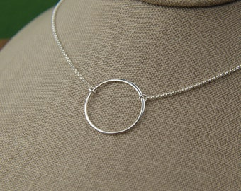 Sterling silver circle necklace, large circle, large silver circle, eternity necklace, infinity necklace, karma, mother's day