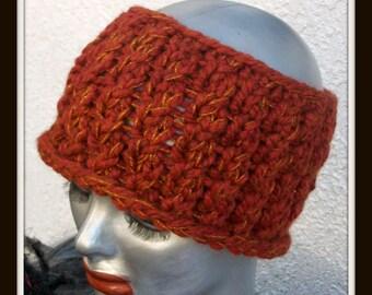 HAT WOMEN KNITTED Half hat Headband Rust Woman Handmade Gift
