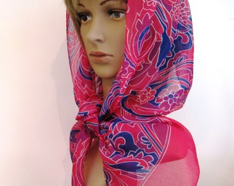 Stunning!  Vintage Scarf, Raspberry, Royal Blue, Red Violet and White, with Graphic Abstract Floral Pattern Design, 11 x 60 inches