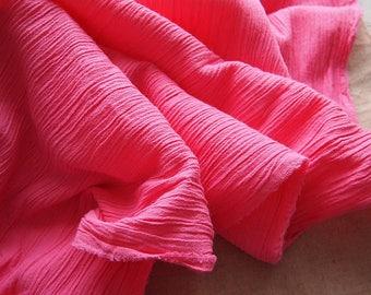 Bright fuchsia pink beautiful fabric crepe texture 109 * 50 cm