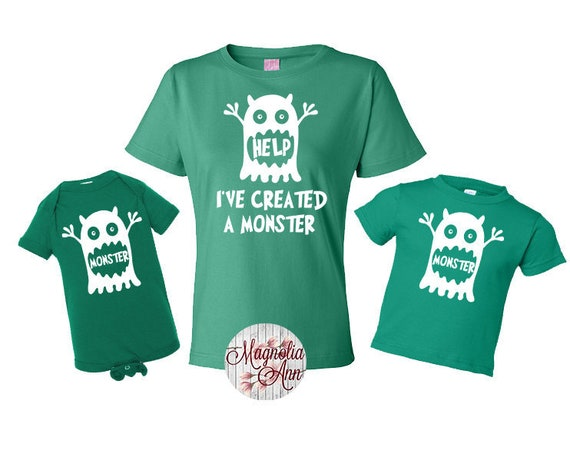 Help I've Created a Monster, Monster Shirt, Mommy and Me Set, Mother's Day Gift, Fathers Day Gift, Daddy and Me Set, Shirt Set, Family Shirt