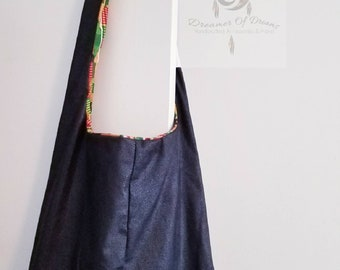 Handmade Cross Shoulder Bag, Slouch Bag, Cross Body Bag, Afrocentric, Reversible Bag, Messenger Bag