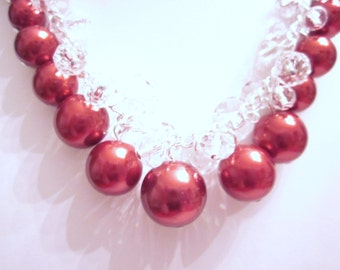 Pearl Cluster Necklace Set in Red Accented with Crystal Rondelles- Chunky, Choker, Bib, Necklace, Wedding, Bridal, Bridesmaid, Prom