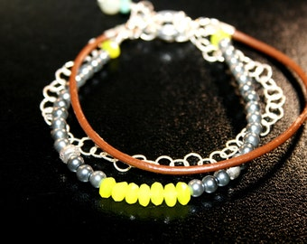 P3 3-in-1 Quartz, Leather and Sterling Silver Bracelet