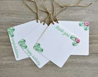 Tropical Hibiscus Gift Tags | Set of 20 + Twine | READY TO SHIP | Hang Tag | Swing Tag | Favor Tag | Wine Tag | Party Gift Tag | Gift Wrap