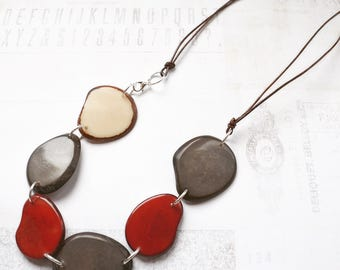 NEW Eco Chic Necklace. Statement Jewelry. Unique Jewelry. Modern Light Chunky Fresh Fashion Accessory. Leather Cord Tagua Seed
