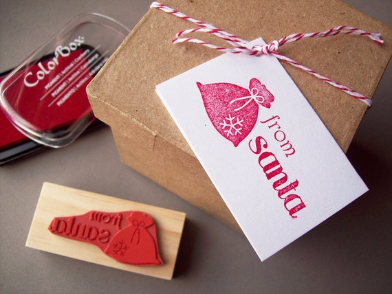 From Santa Rubber Stamp - Make Christmas Tags - Santa Gifts - Secret Santa Gift Tags