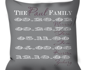"Personalized 14""x14"" Family Names and Birthdates Throw Pillow Custom Home Decor Anniversary Housewarming Gift Throw Pillow"