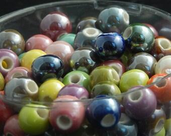 Porcelain 8mm, set of 10 beads