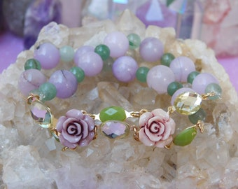 Agate and Aventurine Duo Flower