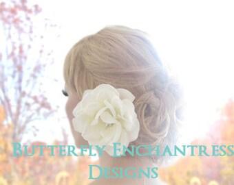 Bridal Hair Clip, Wedding Hair Accessories, Hair Flower - Starfire Ivory Natalia Rose Flower Clip
