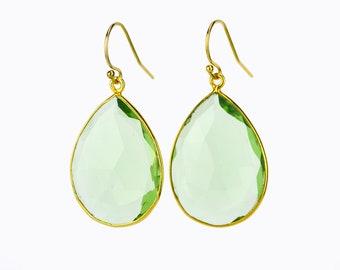 Green Amethyst earrings, Gold Framed Stone February Birthstone earrings Gold Bridesmaid earrings For Her Teardrop Stone earrings Mothers day