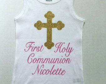 Girls Communion tank top, First Holy Communion, Communion Shirt, Girls Communion dress