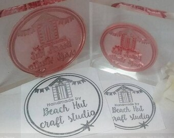 Medium (6cm x 4cm) Personalised, Custom Made Polymer Stamp, Mounted on Clear Acrylic Block, Small Business, Logo Stamp