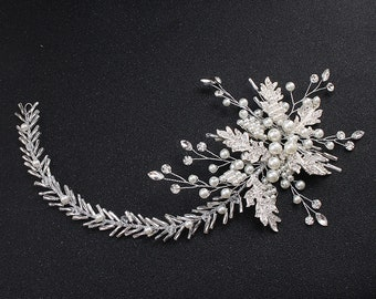 Silver Rhinestone and Artificial Pearls Headband Hair Jewellery for Bride or Bridesmaids