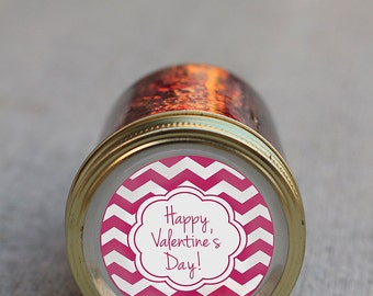 Printable Valentine's Day mason jar label instant downloadable PDF | Chevron Valentine's Day canning jar label