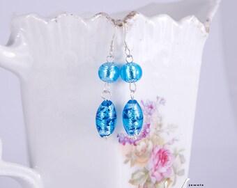 Ohrringe mit leuchtend blauen Muranoglas mit Silberfolie, echten venezianischen Murano Glasperlen, Sterling Silber Ohrringe, Murano von Venedig