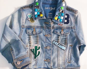 Girls denim jacket with Patchwork and studs