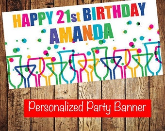 """18""""x36"""" Cocktails and Dreams Birthday Party Banner   Dirty 30    21st Birthday Party Decoration   Martini Party"""