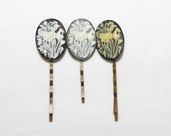 Rose Cameo Hair Pin Bobby Pin Black White Cream Grey Roses Floral Flower Hairpin