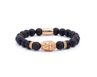 Buddha Bracelet, Lavastone gemstones, Gold Buddha