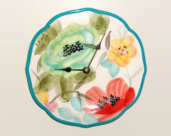 Turquoise Floral Wall Clock, Available with Numbers, Ceramic Plate Clock, Floral Wall Decor, Home Decor, Unique Wall Clock - 2400