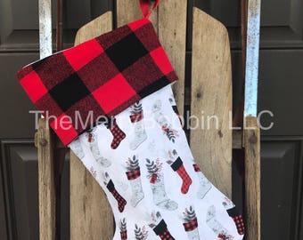 Farmhouse Stocking, Christmas Boots Christmas Stocking, Holiday Stocking