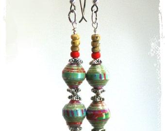 Colorful ethnic earrings, Modern tribal earrings, Paper bead earrings, Boho chic earrings for women, Gypsy earrings, Everyday earrings