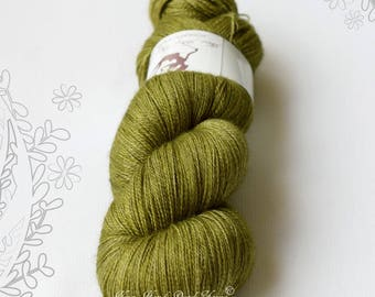 SILENTO LACE - Lichen - hand dyed yarn, blend of merino wool, mulberry silk and yak, lace weight