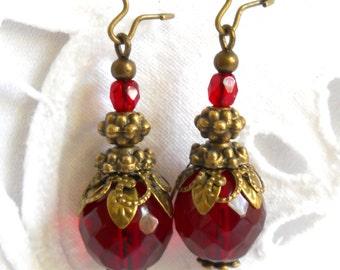 red dangle earrings red earrings red beaded earrings bronze and red earrings bronze earrings