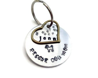 Rescue Dog Mom Key Ring - Personalized for Dog Moms - Animal Rescue