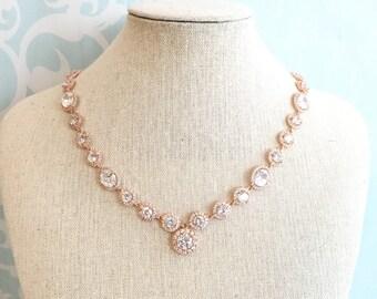 Rose gold wedding necklace, Rhinestone Wedding Necklace, Bridal Necklace, Round Pendant Necklace,  cubic zirconia necklace, brides necklace