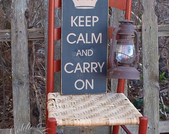 Keep Calm & Carry On, Primitive, Word Art, Typography, Subway Art, Handmade sign