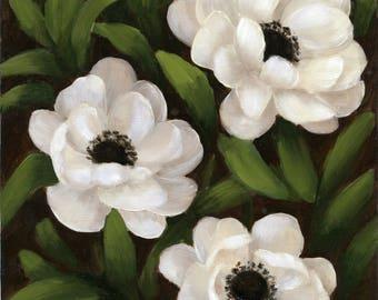 White Anemones Original Oil Painting. Fine art. Flower Painting.