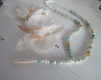 Rosary mermaid necklace unisex nacklace mint blue green sea colors of relax ivory charm FREE SHIPPING by Red Bracelet on Etsy