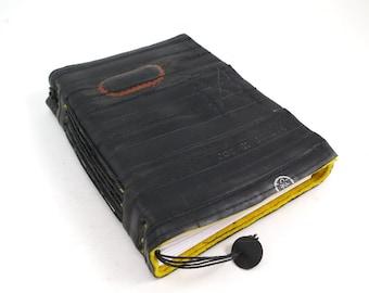 Journal, recycled bicycle inner tube, handmade blank, medium. Velcro closure,yellow linen.