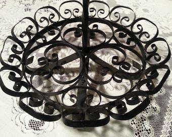 Large Black Wrought Iron Spanish Mediterranean  Centerpiece or Fruit Basket