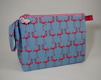 Medium Zippered Wedge Bag - Pink Flamingos